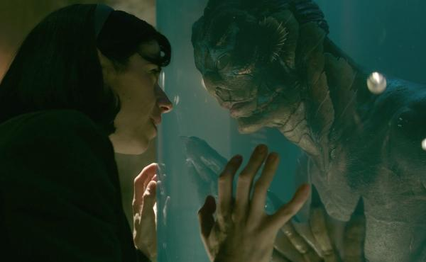 Doug Jones plays an amphibious fish man who strikes up a romance with a mute woman (played by Sally Hawkins) in The Shape of Water.