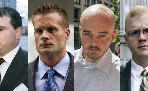 Blackwater guards, from left, Dustin Heard, Evan Liberty, Nicholas Slatten and Paul Slough were pardoned by President Trump this week. The former government contractors were convicted in a 2007 massacre in Baghdad that left more a dozen Iraqi civilians de