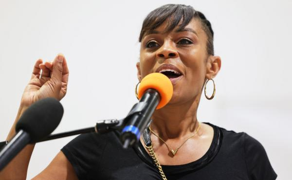 Cuyahoga County Councilwoman Shontel Brown speaks during a campaign event on July 31 in Cleveland.