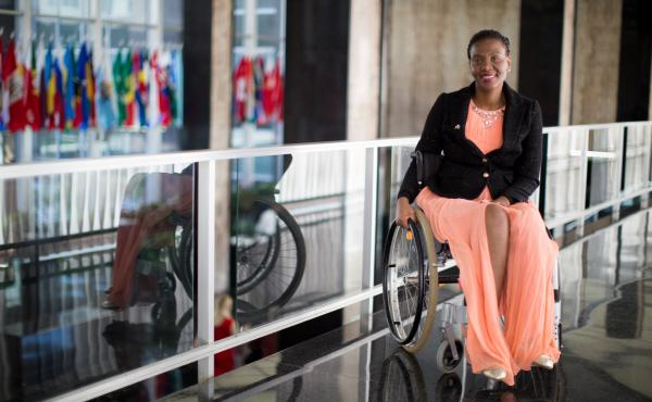 Malebogo Molefhe, a winner of the 2017 International Women of Courage award, at the U.S. Department of State
