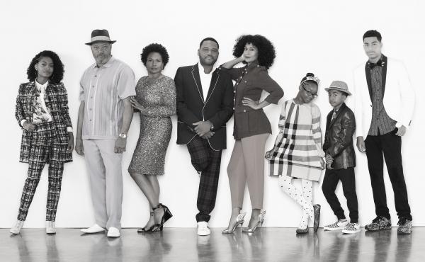 "BLACK-ISH - ABC's ""black-ish"" stars Yara Shahidi , Laurence Fishburne, Jenifer Lewis , Anthony Anderson  and Tracee Ellis Ross , Marsai Martin, Miles Brown and Marcus Scribner."