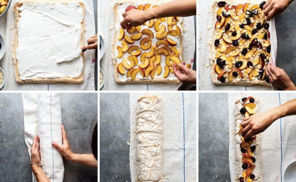 Step by step visual instructions for rolling the pavlova with peaches and blackberries. We use plums instead of peaches for our holiday version.