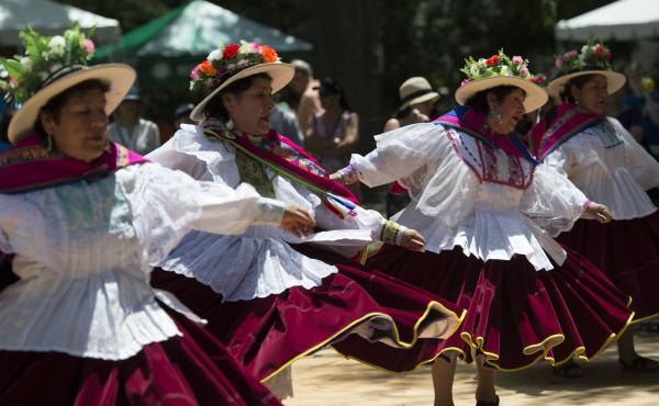 Peruvian dancers perform at the Smithsonian Folklife Festival in Washington, D.C., in 2015. This year's festival will shrink from 10 days to just two, in part as a result of the partial government shutdown.