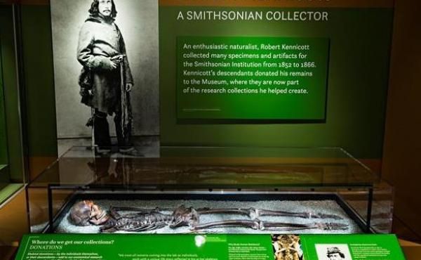 Explorer Robert Kennicott's remains are now on display at the Smithsonian National Museum of Natural History.