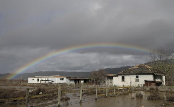 A storm dumped rain on Hollister, Calif., on Tuesday and Wednesday, but appeared to have blown through by Thursday.