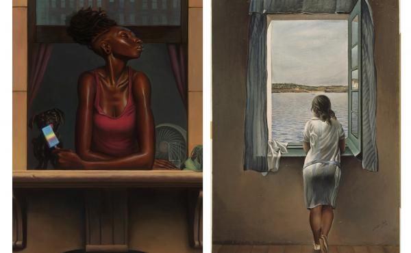 NPR asked our audience to find inspiration in — and then write an ekphrastic poem about — two paintings: Heat Wave by Kadir Nelson (left) and Young Woman At A Window by Salvador Dali.