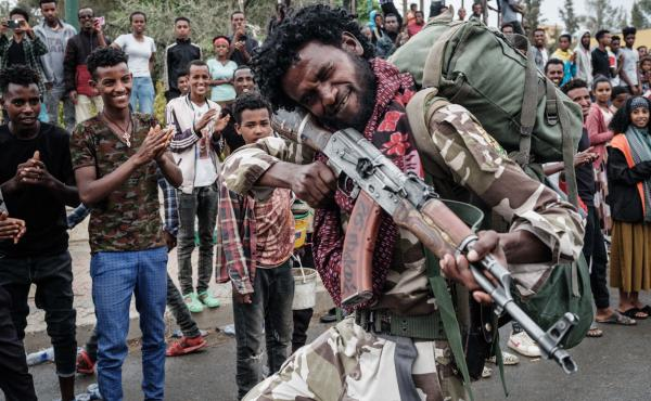 A Tigray People's Liberation Front fighter poses in Mekele, the capital of Tigray region, Ethiopia, on June 30, 2021.