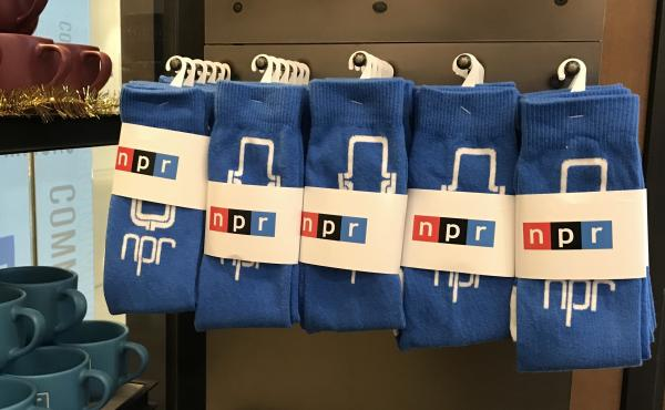 Socks on display in the NPR gift shop.