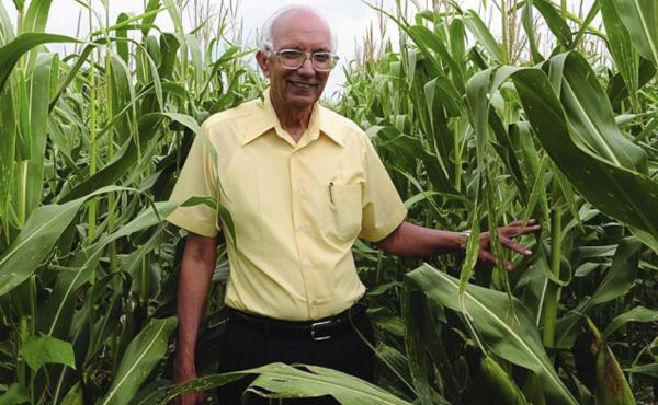 Rattan Lal in an Ohio cornfield. The soil scientist is this year's World Food Laureate, earning a quarter of a million dollar prize for his pioneering work in soil improvement.