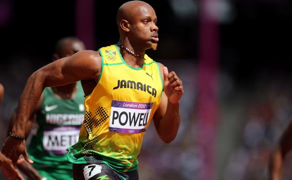 Asafa Powell of Jamaica was barred from competition after testing positive for the stimulant oxilofrine.