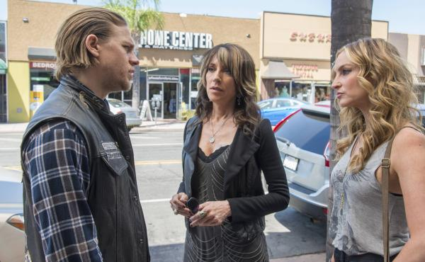 Charlie Hunnam co-stars with Katey Sagal (center) and Drea De Matteo on FX's biker drama Sons of Anarchy.