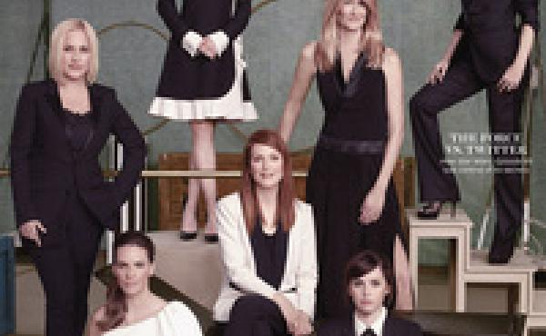 Patricia Arquette (clockwise from left), Reese Witherspoon, Laura Dern, Amy Adams, Felicity Jones, Julianne Moore and Hilary Swank on the Nov. 28 cover of The Hollywood Reporter.