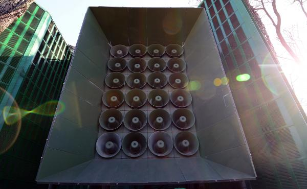 South Korea's speaker array, located at a military base near its border with the North. The South Korean Ministry of Defense announced on Monday it would cease propagandistic broadcasts of K-pop and other audio.