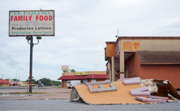 A store in Port Arthur, Texas, suffers wind damage in the aftermath of Hurricane Laura. Though there was some damage, many Jefferson County residents say they were lucky the storm did not do more.