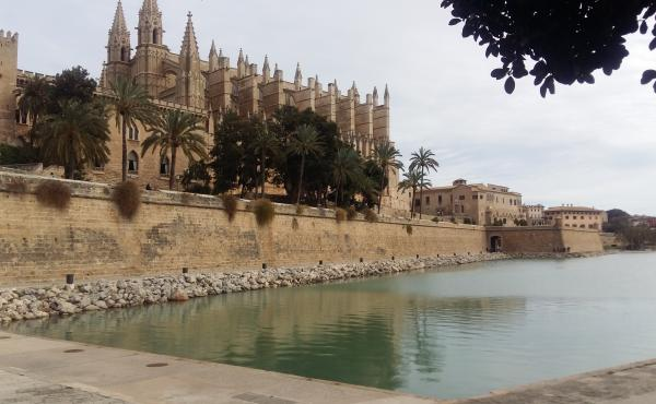 The Almudaina Palace (left) is one of two royal palaces on Spain's Mallorca island.