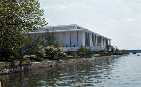 A view of the Kennedy Center from the water in Washington, D.C.