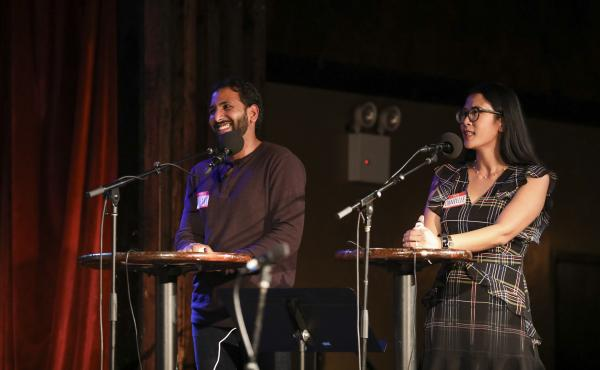 Shreyas Vangala and Danielle Mebert go head-to-head in Ask Me Another's Tournament of Champions at the Bell House in Brooklyn, New York.