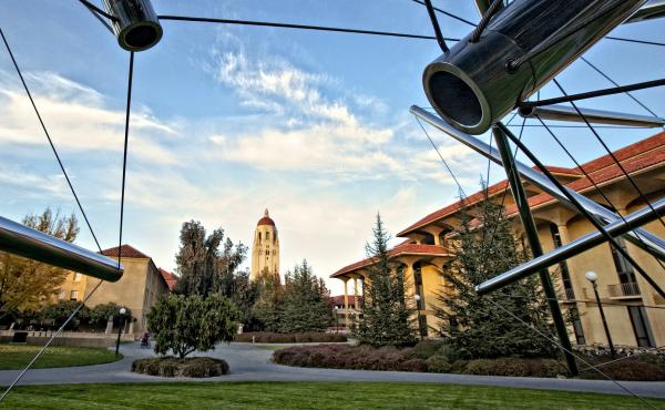 Hoover Tower is seen through a sculpture by Kenneth Snelson on the campus of Stanford University in Palo Alto, Calif., in 2009.