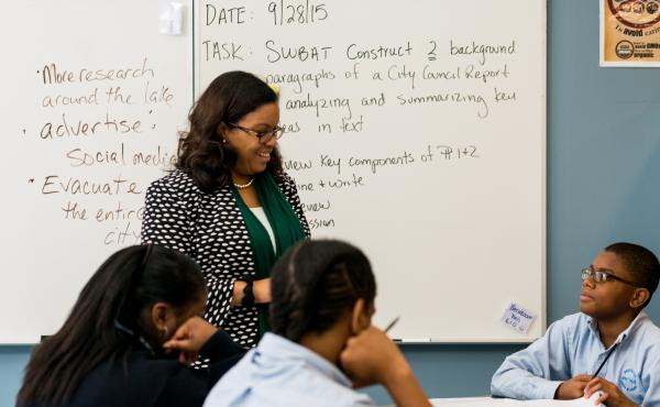 Melissa Jarvis-Cedeño, principal at Ascend Charter High School, teaches a civic reflections seminar three times a week.