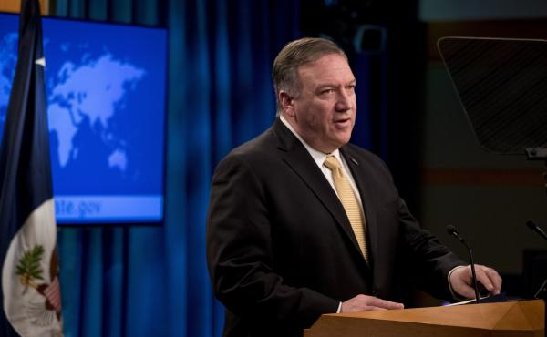 Secretary of State Mike Pompeo speaks Monday during a news conference at the State Department, where he announced the administration will rescind a 1978 department legal opinion that viewed settlements in the Israeli-occupied West Bank as inconsistent wit