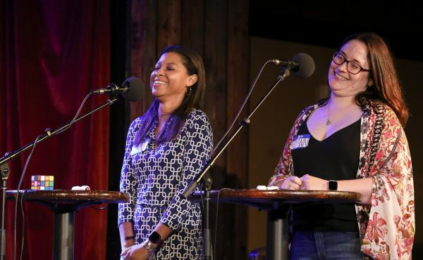 Contestants go head-to-head in Ask Me Another's final round at the Bell House in Brooklyn, New York.