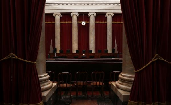 The courtroom of the U.S. Supreme Court seen ahead of the start of the term.
