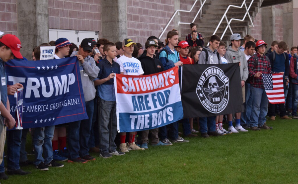 High school students in Columbia Falls, Mont., walked out of class to show their support of the Second Amendment on Wednesday.