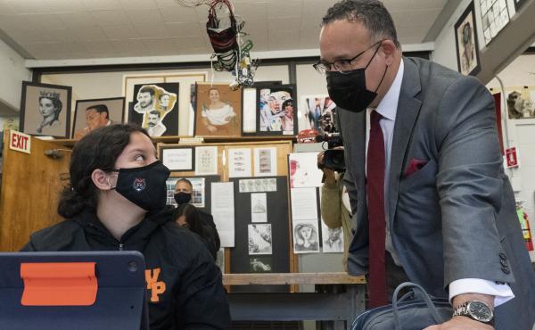 U.S. Education Secretary Miguel Cardona visits White Plains High School in White Plains, N.Y., on April 22.
