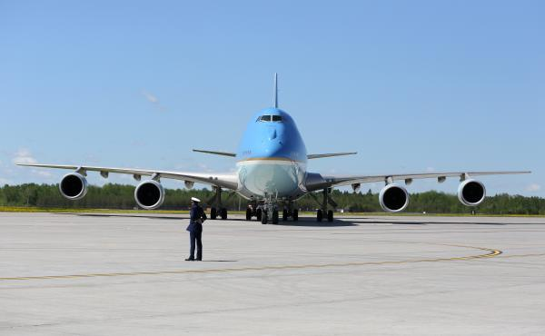 Air Force One waits after landing in Bagotville, Canada, in June. At the G-7 meeting there, President Trump threw traditional U.S. allies into disarray over his trade and security policies.