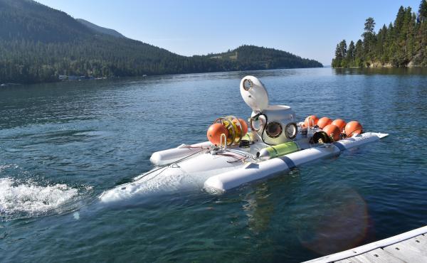 Hank Pronk's two-man submarine, the Nekton Gamma, leaves the dock.