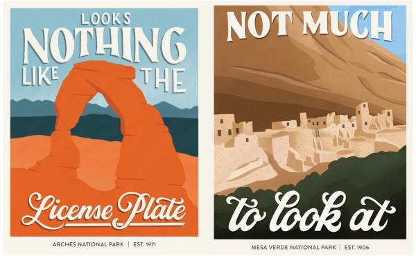 Subpar Parks posters for Arches National Park and Mesa Verde National Park.