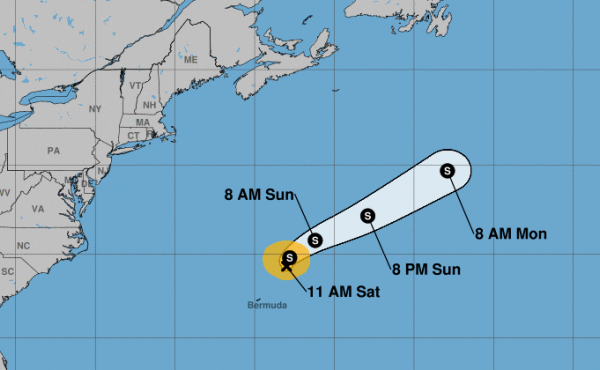 Subtropical Storm Ana is moving west and is predicted to change toward the north, then move northeast.