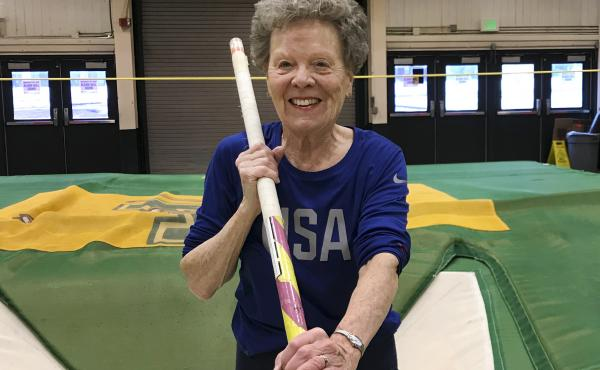Flo Filion Meiler, 84, during pole vault training last month. She mostly works out alone, but has a coach to help refine her technique in events like shot put and high jump.