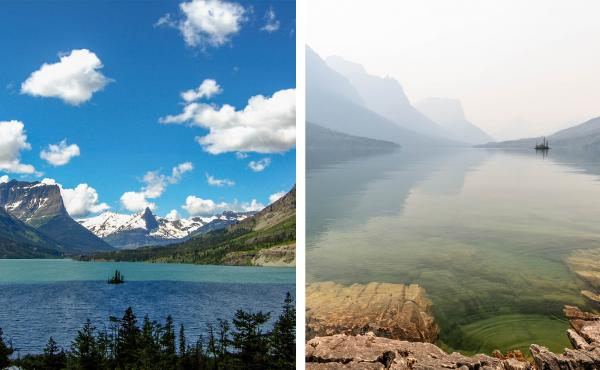 In July wildfire smoke hung over St. Mary Lake in Glacier National Park in Montana  (right). The haze muted the bright views amateur photographer Heather Duchow remembered from and anniversary trip 15 years ago (left).