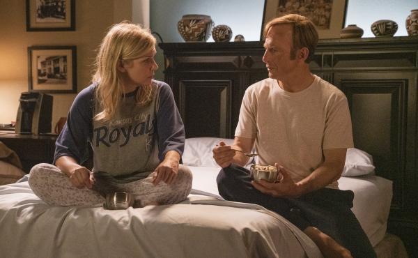 Rhea Seehorn as Kim Wexler, Bob Odenkirk as Jimmy McGill in Better Call Saul, an Emmy snub but a Deggy winner.