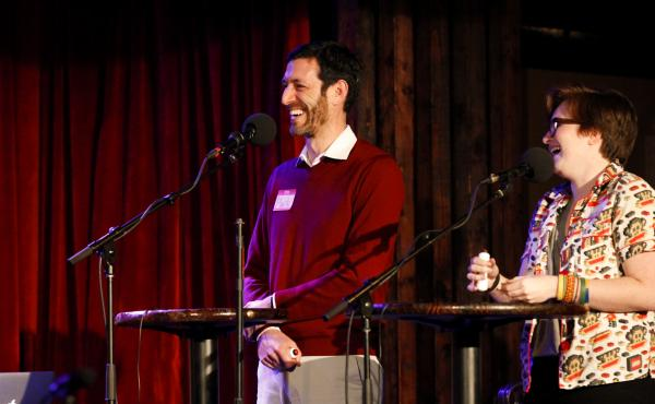 Contestants Mark Lerner and Jamie Mercado play a game on Ask Me Another at the Bell House in Brooklyn, New York.