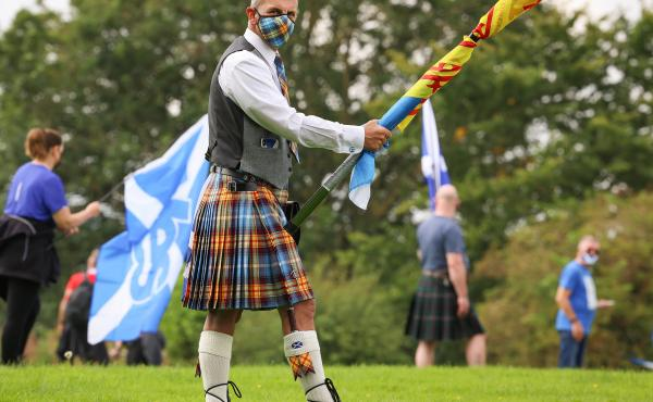 Supporters of Scottish independence gather at the site of the Battle of Bannockburn in August in Bannockburn, Scotland. The site is where the army of the king of Scots, Robert the Bruce, defeated the army of England's King Edward II in 1314 in the First W