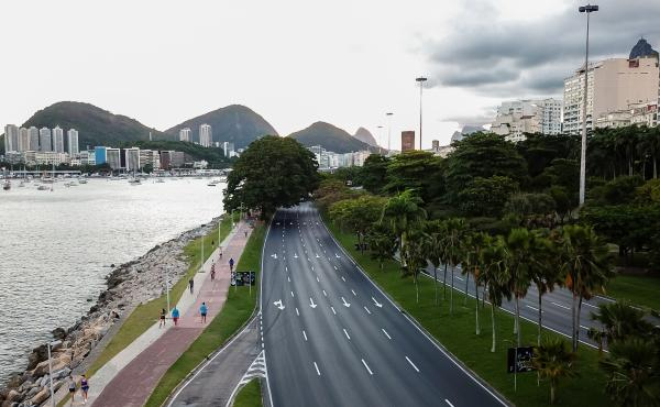 An aerial view of a near empty park in Rio de Janeiro on Thursday. Right-wing supporters of the president are calling for an end to restrictions put in place to stop the spread of the coronavirus.