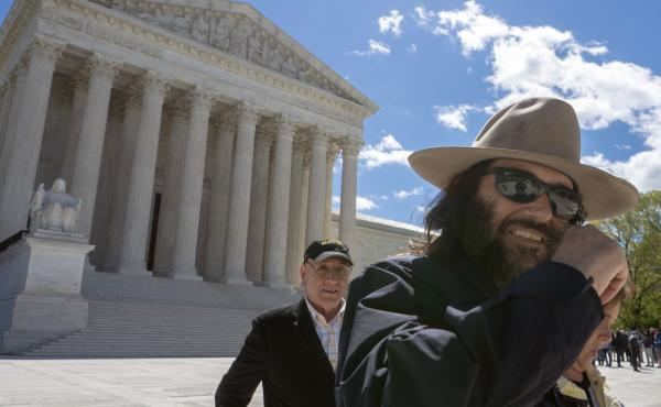 """Los Angeles artist Erik Brunetti, the founder of the streetwear clothing company """"FUCT,"""" leaves the Supreme Court after his trademark case was argued on Monday."""