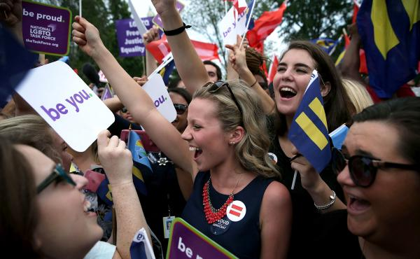 Same-sex marriage supporters rejoice outside the Supreme Court in Washington, D.C., on Friday after the U.S Supreme Court handed down a ruling regarding same-sex marriage. The high court ruled that same-sex couples have the right to marry in all 50 states