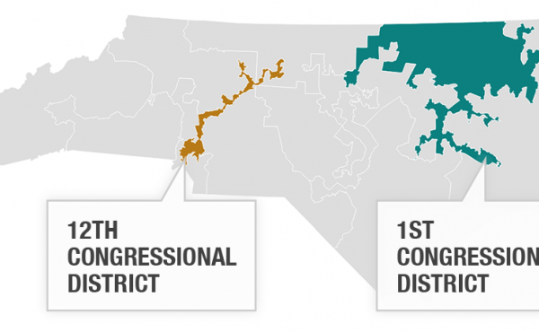 The two congressional districts at issue in the Supreme Court case Cooper v. Harris.