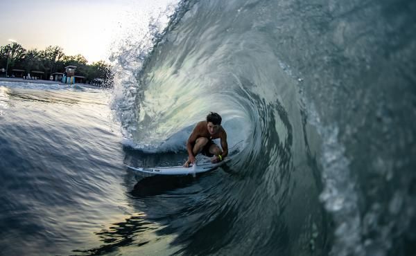 Ben Elliott gets barreled at the BSR Surf Resort, where artificial waves are attracting world-class talent.