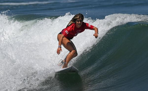 Caroline Marks of the United States competes during Tokyo 2020 women's round 1 heat of surfing at Tsurigasaki Surfing Beach in Chiba Prefecture, Japan, on Sunday.
