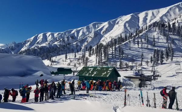 Skiers line up at the only chairlift in Gulmarg, a resort in Indian-administered Kashmir.
