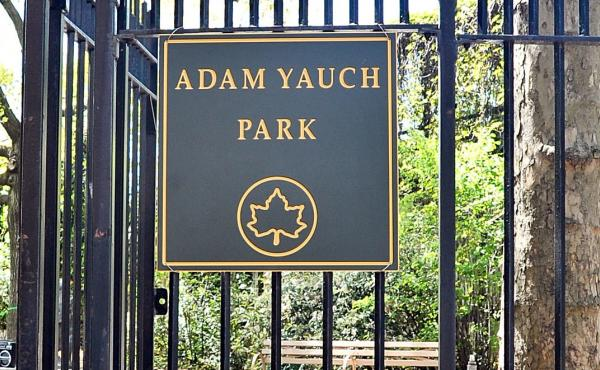 Adam Yauch Park was renamed for the late Beastie Boy back in 2013. This weekend, its young clientele are taking the playground back from vandals who spray-painted signs of hate on the playground.