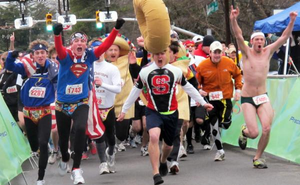 A view from the starting line of the sixth annual Krispy Kreme Challenge in Raleigh, N.C., in 2010. The local children's health clinic takes its name from this annual charity race, which draws about 8,000 participants each year.