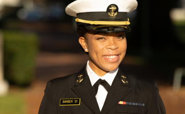 Midshipman 1st Class Sydney Barber, from Lake Forest, Ill., is slated to become the Naval Academy's first Black female brigade commander, the student body's highest leadership position.