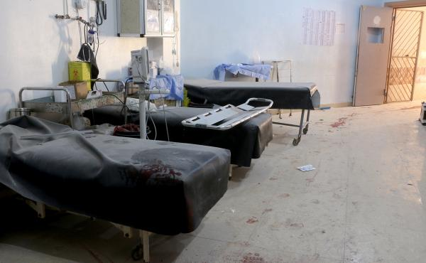 A March 21 attack by the Assad regime forces and Iran-backed terrorist groups targeted a hospital in Aleppo, killing six civilians and injuring 15. Above: A view of the damaged site.