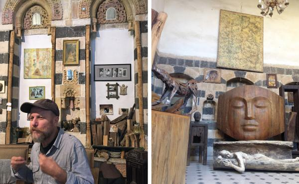 Sculptor Mustafa Ali in the Old City of Damascus, at his office, which used to be a synagogue. (Right) His sculptures, made from bronze, wood, marble and other materials, are popular among collectors in the Middle East and Europe.