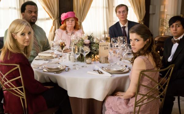 They ordered the chicken: (L-R) Lisa Kudrow, Craig Robinson, June Squibb, Stephen Merchant, Anna Kendrick and Tony Revolori in Table 19.
